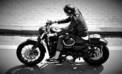 Harley Davidson biker. My first panning (S. Mel photo) Tags: panning 18300 sigma canon biker harleydavidson monocrome