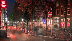 Hustle & Bustle (McQuaide Photography) Tags: amsterdam noordholland northholland netherlands nederland holland dutch europe sony a7rii ilce7rm2 alpha mirrorless 1635mm sonyzeiss zeiss variotessar fullframe mcquaidephotography lightroom adobe photoshop tripod manfrotto light licht unesco heritage night nacht nightphotography stad city urban lowlight architecture outdoor outside waterfront gracht capitalcity capital building canal authentic classic longexposure colour color colourful redlightdistrict rld touristattraction tourism travel illuminated redlight oudezijdsachterburgwal canalhouse grachtenpand moulinrouge sign street motion movement blur people busy hustle bustle 169 widescreen panoramic