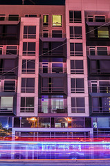 overdone again (pbo31) Tags: california nikon d810 october fall 2016 bayarea night dark black boury pbo31 color sanfrancisco lightstream motion motionblur city urban pink vannessavenue cathedralhill bus muni stop contemporary apartment magenta