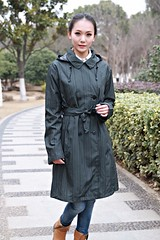 Nylon Rain/Trench Coat (betrenchcoated) Tags: trenchcoat raincoat regenmantel regenjacke doublebreasted nylon hood beautifulgirl buttoned buttons