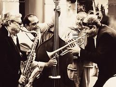 Portrait (Natali Antonovich) Tags: portrait musicians mood saxophone contrabass profile lifestyle monochrome street musician germany