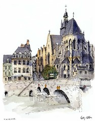 Mayenne, France (wanstrow) Tags: mayenne church normandy bridge grey drawing