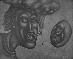 Smokie and Lavar (Tom McKee / Art Guy) Tags: visionary visionaryart artvisionary drawing dark detailed ink prisma pencil pen narrative narrativeart surreal surrealism surrealist lowbrow