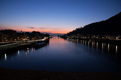River Neckar in Heidelberg (freemanphoto) Tags: river neckar heidelberg fiume long exposure esposizione lunga nikon d610 germania germany dusk crepuscolo sunset tramonto