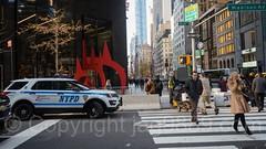Crosswalk at Madison Avenue and 57th Street, Midtown Manhattan, New York City (jag9889) Tags: jag9889 usa artwork manhattan people newyork outdoor 2016 57thstreet suv sculpture policecar crosswalk 590madisonavenue saurien midtown car ford nypd madisonavenue art 20161128 alexandercalder newyorkcity auto automobile finest firstresponder lawenforcement ny nyc newyorkcitypolicedepartment patrol policedepartment policepatrolcar skulptur sportutilityvehicle transportation unitedstates unitedstatesofamerica vehicle us
