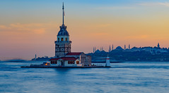 Kiz Kulesi - Sunset (Aleem Yousaf) Tags: sunset uskudar istanbul kiz kulesi maiden tower blue mosque bosphorus leander 7020mm d800 photo walk turkey outdoor boat water sea long exposure