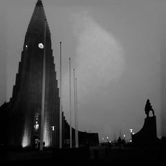 in the dark (TruMax) Tags: hallgrimskirkja reykjavik iceland iphone architecture sculpture evening