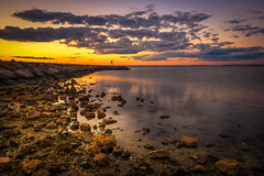Meschutt Beach - Long Island, NY (djrocks66) Tags: sunset sun beach nature water sunrise boats gold golden landscapes fishing sand rocks seascapes jetty oceanscapes