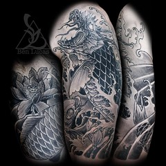 Some finished photos of Toms #dragonkoi #halfsleeve #tattoo #benlucas #eyeofjade