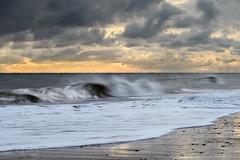 Breaking Wave (Steven Docwra) Tags: sea cloud seascape beach clouds sunrise photography nikon offshore wave coastal windfarm breakingwave windturbines nikond800