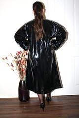 black pvc mac (sheerglamour) Tags: leather fetish dress heels satin pvc wiggle nylons hobble glamoursheerglamour