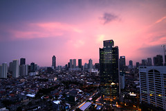 Tower and house at night (Fanni Ichwan) Tags: blue sky night buildings landscape cityscape wide jakarta tripoded