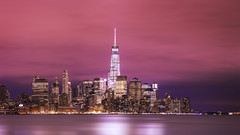 one world trade center (3dRabbit) Tags: world nyc sky panorama night skyscraper canon river photography one iso100 long exposure top manhattan nj center best hudson trade hoboken 135mm 5dmarkiii sungjinahn