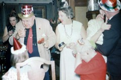 Happy New Year at the Stroke of Midnight (Alan Mays) Tags: old vintage kissing holidays photos drinking hats parties newyear ephemera photographs midnight newyears kodachrome slides newyearsday transparencies foundphotos upd january1