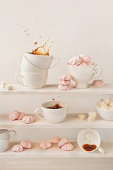 Pale pink (SeattleHVAC172) Tags: coffee morning fresh lifestyle white pink splash peace sweets relaxation dessert cups tranquility comfort collection levels marshmallow shelves sugarcubes whiteonwhite