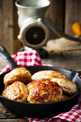 chicken cutlets on frying pan. (Zoryanchik) Tags: chicken cutlet cutlets food meat dish patty patties white fresh meatballs delicious tasty nutrition eat snack dinner homemade organic healthy
