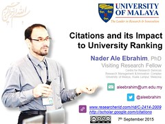 Citations and its impact to university ranking (Nader Ale Ebrahim) Tags: research visibility