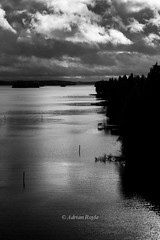 DSC_9382 (Adrian Royle) Tags: finland kuopio travel holiday landscape lake water sky clouds channel bridge weather trees forest building homes
