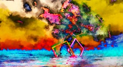 burn (Bamboo Barnes - Artist.Com) Tags: vivid surreal photo painting light shadow blue yellow red pink green landscape tree frame sky secondlife lea virtualart digitalart bamboobarnes