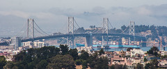 Bay Bridge (AAcerbo) Tags: bernalheights sanfrancisco california hilltop lookout vista widescreen cropped 241 baybridge telephoto zoom bokeh distortion
