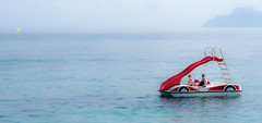 Pedalo and the Mediterranean. (CWhatPhotos) Tags: pedl pedalo fun cwhatphotos beach sand sea clouds cloudy day blue skies skys sky camera photographs photograph pics pictures pic picture image images foto fotos photography artistic that have which contain with olympus four thirds 43 spanish spain mallorca majorca island october 2016 weather boat alone beached coast balearic islands mediterranean balearics pedlo