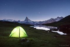 night camp (cfaobam) Tags: zelt camping tent sternenhimmel alpen berge bergsee european larch fall gebirge herbst lac lake landschaft matterhorn see stellisee zermatt alpes arbres automne montagne mountains neige schnee snow alps berg schweiz wasser stein stone landscape europe europa nature national geographic cfaobam water travel photography magic light rock steine felsen outdoor