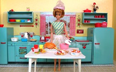 Cooking with Gigi (Retro Mama69) Tags: barbie mattel american girl thanksgiving diorama vintage tin toy kitchen marx cooking play baner dishes miniature pyrex