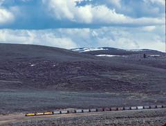 Downgrade toward Keetley Jct, doubling train from Phoston, April 7, 1986 (blair.kooistra) Tags: unionpacific gp30 parkcity webercanyon ogden echo utah utahrailroads branchlinerailroads