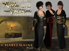 Gods of Valor - Charlemaine - Black Ad (Filipa Thespian) Tags: roleplay medieval gown dress wrapped corset tunic gorean gor historic historical chemise secondlife virtualworld 3dclothing virtualclothing