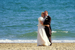 The Bride of the Waves (SteveJM2009) Tags: candid wedding bride groom couple happiness marriage beach sandbanks poole dorset uk october 2016 stevemaskell