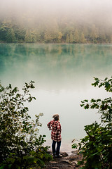 In the mist of Pink Lake (Bust it Away Photography) Tags: mist landscape canada nikon lake gatineau ottawa outaouais bustitawayphotography forest water reflection silhouette adventure travel quebec