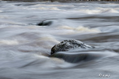Misty river (Maria Immonen) Tags: misty stone water river dark soft canoneos6d longexposure impressionisticphotography