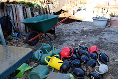 Wheelbarrow and Watering Cans