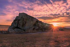 Big Rock Sunset (Bluesky251) Tags: farm canada alberta okotoks rock big skyline cloud grass cold light shiny landscape natural