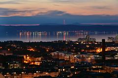calm sea.. would you believe if didn't see it? (UndaJ) Tags: city sunset sea scotland edinburgh forth