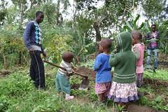 Junior helpt kaka Lohai in de tuin