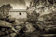 St Govan's Chapel (catkin314) Tags: sky blackandwhite bw clouds coast rocks westwales chapel pembrokeshire stgovanshead