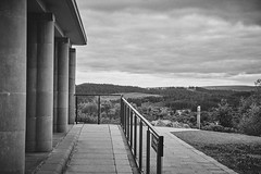 The Lodge (Hey hey JBA) Tags: blackandwhite bw monochrome forest scotland blackwhite sigma trossachs modernist c1 thelodge queenelizabethforestpark 1750mm forestcommission d3100