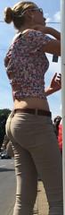 495 (jimmystrider135) Tags: girls woman sun ass girl glasses beige women pants butt arse free stomach piercing blonde tight navel bauchfrei