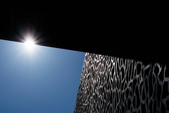 Sun at Mucem (Clinexpat) Tags: blue light shadow sky sun black art lines architecture star perspectives shade straight lignes moucharabieh