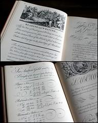 The Universal Penman (overthemoon) Tags: writing handwriting book pages montage calligraphy penmanship engravings 1743 georgebickham theuniversalpenman 1941facsimileedition
