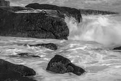 rocks, surf, Lobster Cove, Monhegan, Maine, nikon D40, nikon nikkor 105mm f-2.8, 5.26.15 (steve aimone) Tags: ocean blackandwhite monochrome rocks surf maine monochromatic atlanticocean f28 monhegan crashing monheganisland primelens lobstercove nikonnikkor105mm nikond40 nikonprime crashingsurf