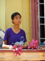 Lotus flower seller (bindubaba) Tags: cambodia buddhism lotusflowers