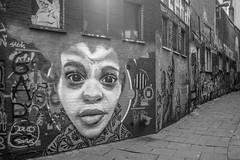 The Face (graufuchs) Tags: mural gent ghent belgium belgie belgien europe europa wall painting gemlde mauer gasse city stadt kunst art x100s fuji fujifilm fujifilmx100s lightroom flandern vlanderen blackandwhite blackwhite monochrome monochrom 23mm fixedfocal outdoor einfarbig sw apsc black white