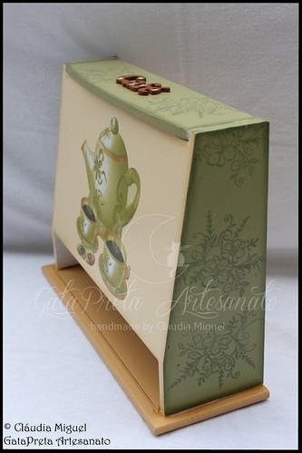 """Caixa vertical para cápsulas Dolce Gusto e caixa de açúcar """"Vintage Green Coffee"""""""