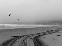 Adrenaline Road (Rand Luv'n Life) Tags: california winter blackandwhite seascape storm beach monochrome landscape sand san south tracks diego lifeguard mission vehicle windsurfing distant odc