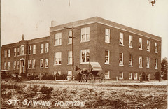 St Saviors General Hospital w Horse Carriage & Car
