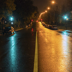 Gree, red or yellow, the street is mine (Jacques Lebleu) Tags: streetlighting streetlamp red green yellow amber shp trafficlights night rain ruesthubert ahuntsic ahuntsiccartierville parcahuntsic montral montreal nuit wetpavement reflection reflet fall automne lateoctober finoctobre hps highpressuresodium square carr nocturne light street city orange