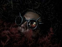 Dark Passenger (MacroMarcie) Tags: macromarcie me selfie selfportrait dark darkpassenger shocktober painterly orton prisma iphone7plus iphone7 feathers spikes madmax dexter october halloween boa featherboa goggles hereios wh wah werehere