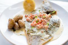 Plaice (Tristram4) Tags: fish plaice catch fresh food dish lemon summer photography potato crayfish sauce